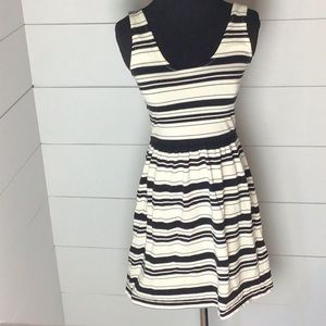 J. Crew mini dress black and off white striped XXS